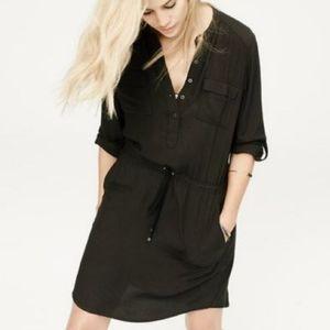LOU & GREY Henley Utility Shirtdress Cinched Waist